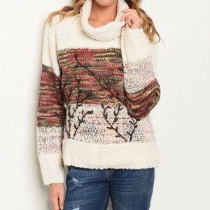 Adora textured embroidered turtleneck sweater